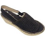 Wedged Spanish espadrille with woven elasticated rafie upper and rope wedge. Sling back offers support. Colour chocolate.