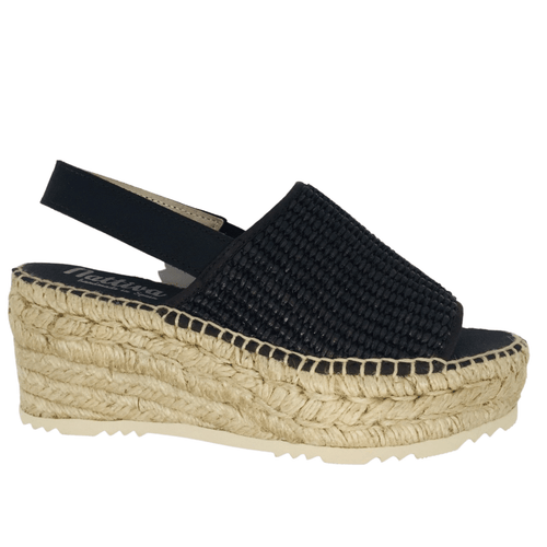 920 × 1920px  Wedged Spanish espadrille with woven elasticated rafie upper and rope wedge. Sling back offers support. Colour chocolate.