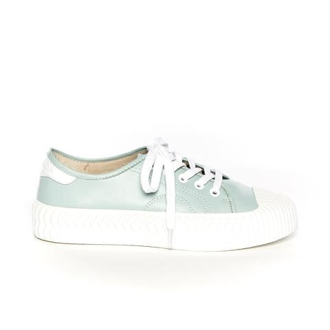 Quirky leather sneaker retro styled with a beige rubber sole on the white sneaker and a fresh white rubber sole on the moss (or aqua) coloured sneaker.