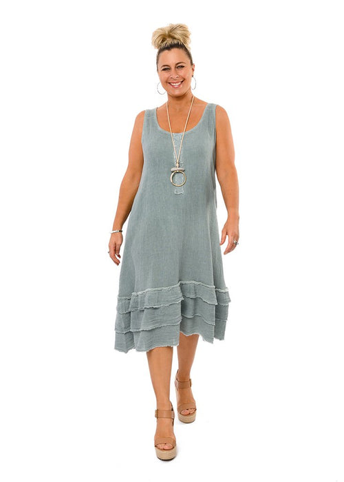 Cool sleeveless summer dress in 50% cotton and 50% linen. Three tiered frilled hemline each of which is frayed. Detachable/separate lining. Colour fern.