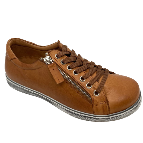 Tan leather sneakers with laces and zip