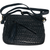 Cross body bag. Two outside zipped pockets both from and back. Inside zip and pockets. Plaited and woven leather front. Plain back. Long strap. MLadys Shoes. Navy