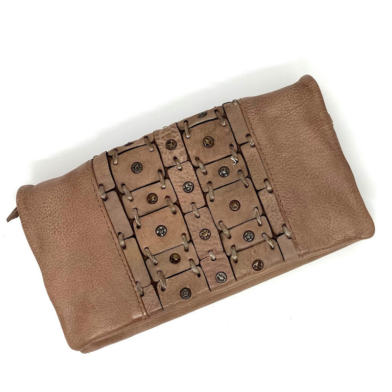 A generous sized wallet (20cm x 11cm) of supple leather in a sand colour, this wallet has a studded and stitched feature on the front flap which has a magnetic closure. Inside is a zip, many card spaces and plenty of room for any sized phone. This wallet could easily double as a clutch.