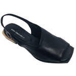 Sleek black leather flat sandal with sling back and cut out side and a peep toe. Exceptionally stylish with a pale timber low heel and good foot coverage