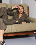 Sage with beige striped linen jacket, v-neckline and softly gathered waist