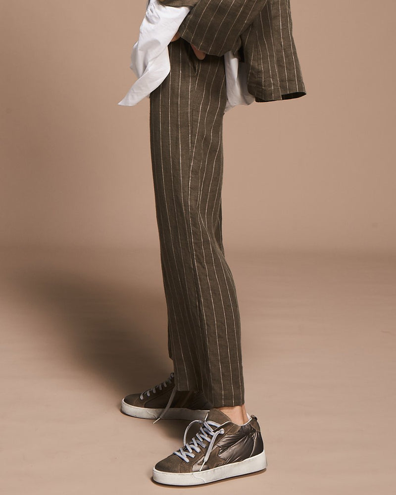 Sage with beige stripe linen pants