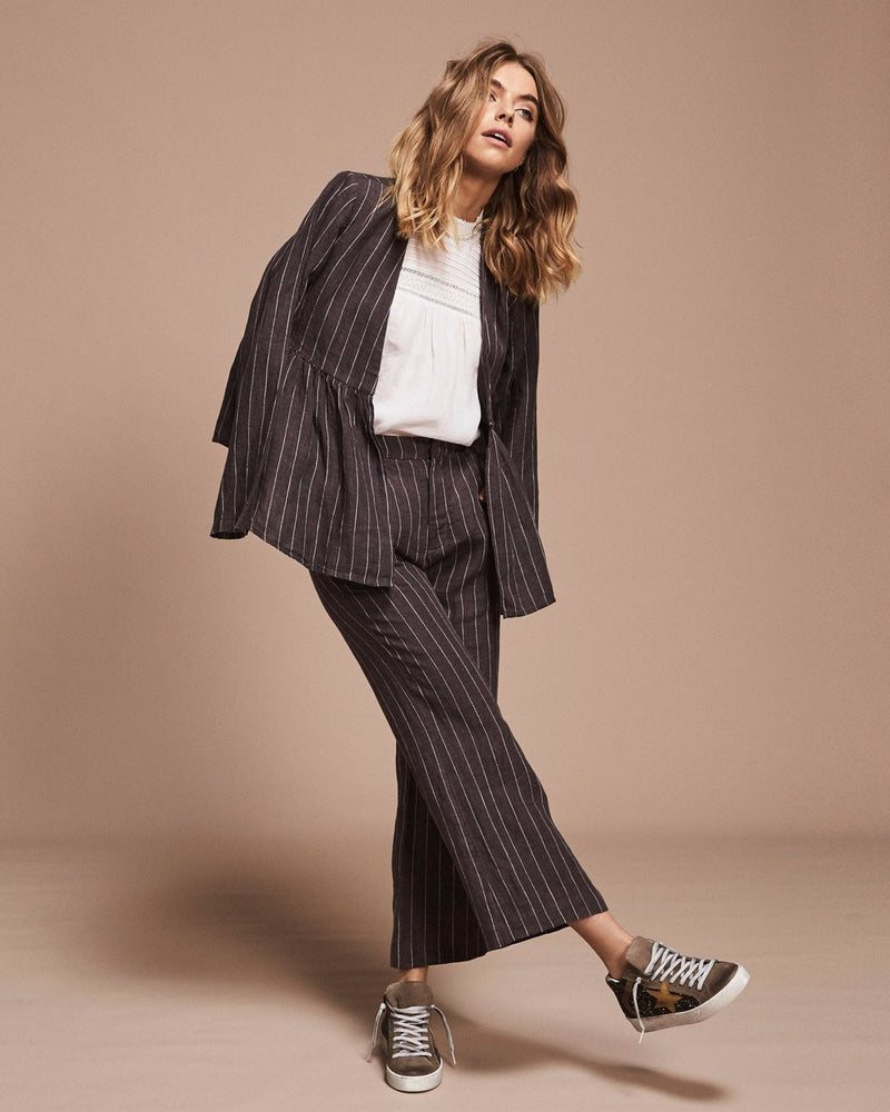 Slate with white striped linen jacket, v-neckline and softly gathered waist