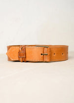 Leather trouser belt. Made in Morocco. Sizes small and large. Width 4cm. Colour tan.
