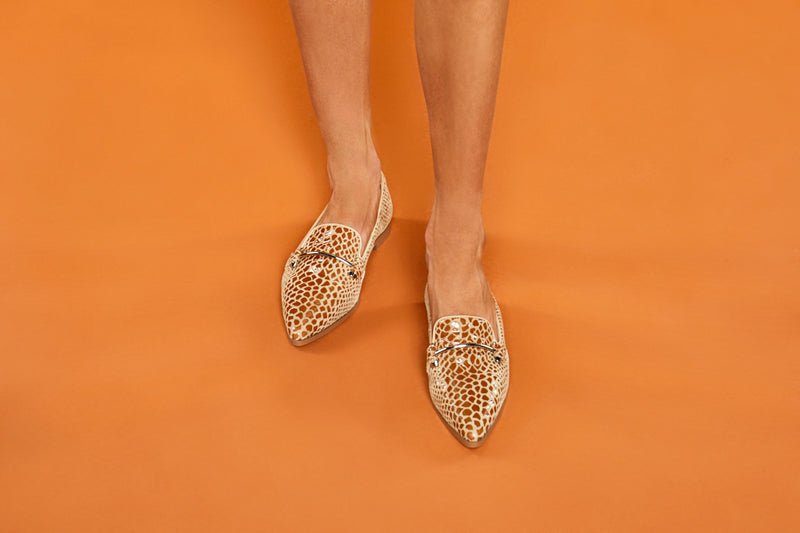 snakeskin leather loafers with silver bar in chestnut and sky