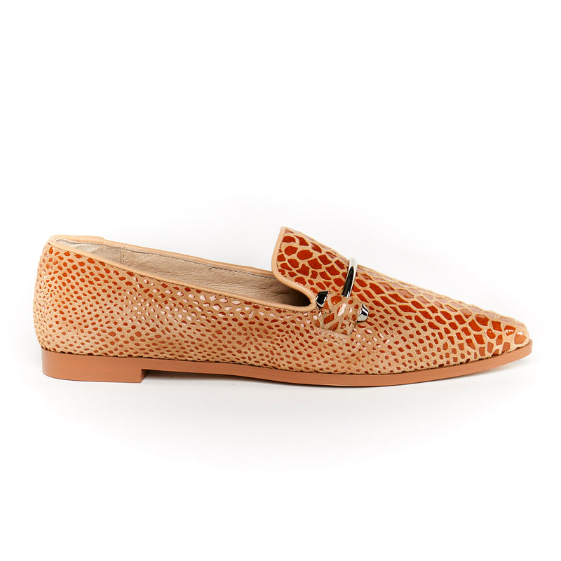 snakeskin leather loafers with silver bar in chestnut