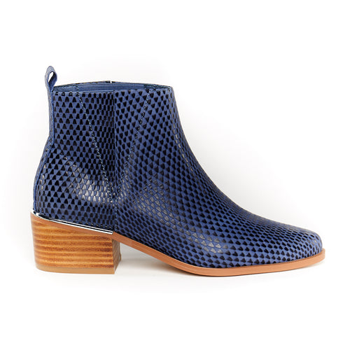 Snake skin lizard leather ankle boot in sky navy