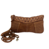 leather clutch or cross body bag with stitch detailing