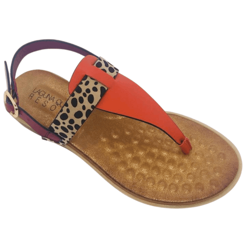 Spongy super soft sole. Man made materials. Thong sandal with slight wedge and back strap. Colours fuscia, orange, cheetah