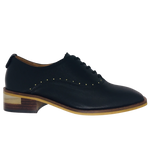 Leather lace-up brogues with stacked heel and metal studs - black