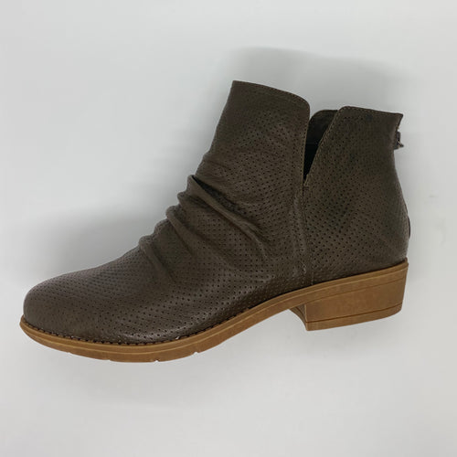 olive embossed leather slouchy ankle boots