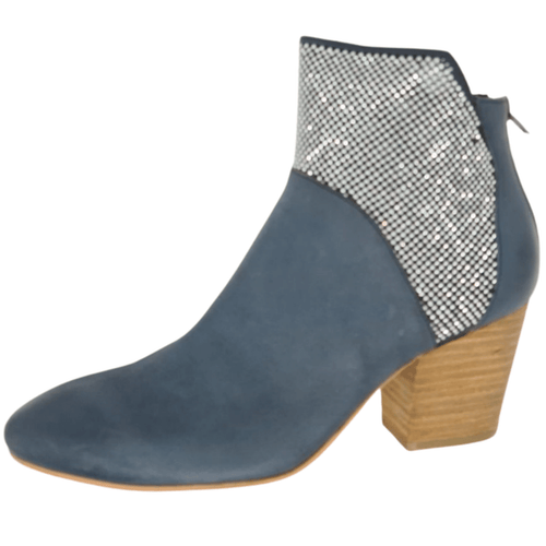 Western heeled 7cm high boot. Denim blue coloured leather. Rear zip. Tiny silver stud featured on upper and side of boots. Django and Juliette.