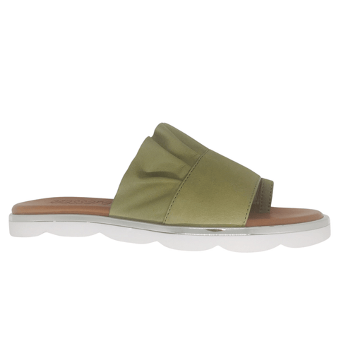 Soft leather toe thong, cute ruffle, cushioned footbed, metallic trim in khaki