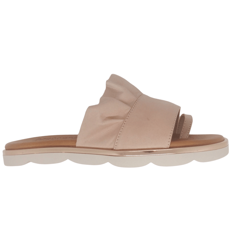 Soft leather toe thong, cute ruffle, cushioned footbed, metallic trim in powder pink