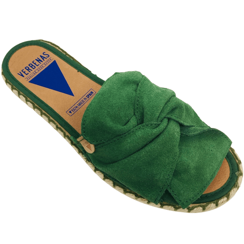 Made in Spain these flat espadrille slides slides have a suede leather knotted over the foot and colour stitched into the rope sole. Colour green.