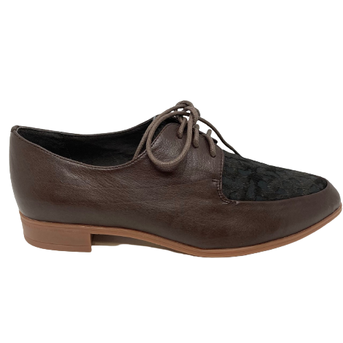 Leather lace-ups with spotted pony hide on the toe in chocolate brown