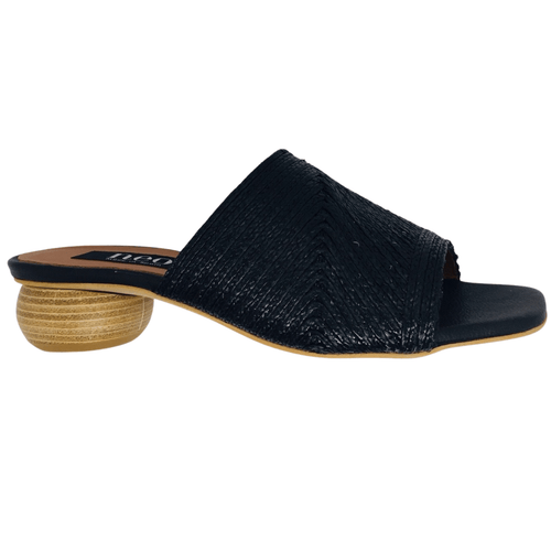 Quirky slide with a cute round stacked heel and plaited straw sewn in strips onto the leather upper. Made in Spain. Colour black.