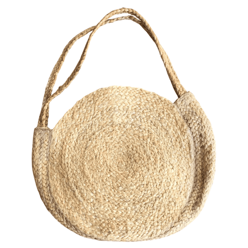 Round raffia shopper bag in natural