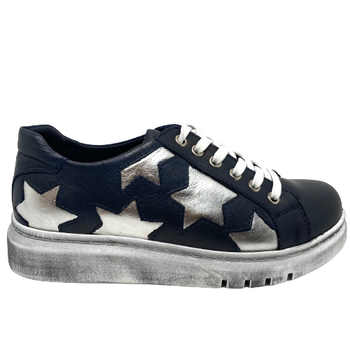 A fabulously fun and comfortable leather sneaker with a removeable insole (for those who need an orthotic), silver stars on the outer side of the shoe and a distressed pale grey sole. They also come with both navy and white laces so you can customize your look.