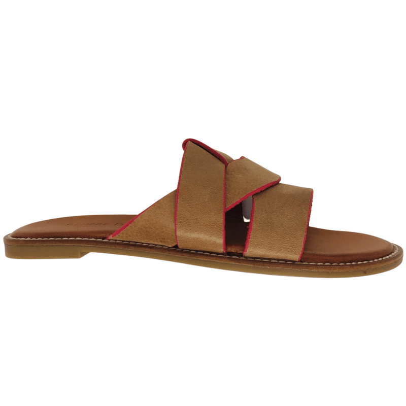 Camel tan with pink piping leather slides with crossed leather over the toes