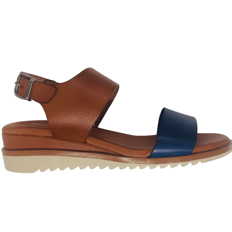 These amazingly comfortable summer wedges have a gel insole of added softness and a white non slip sole for both comfort and safety. Soft leather used throughout. Made in Spain. Colours tan and navy combo.