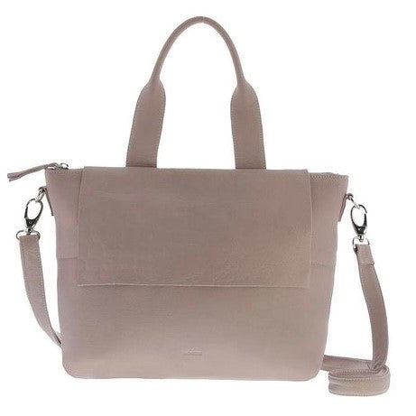Supple leather handbag with shoulder strap. Can also be worn as a crossbody bag. Has a flap to conceal zip closure. Zip on outside back as well as inside. Colour Moonlight