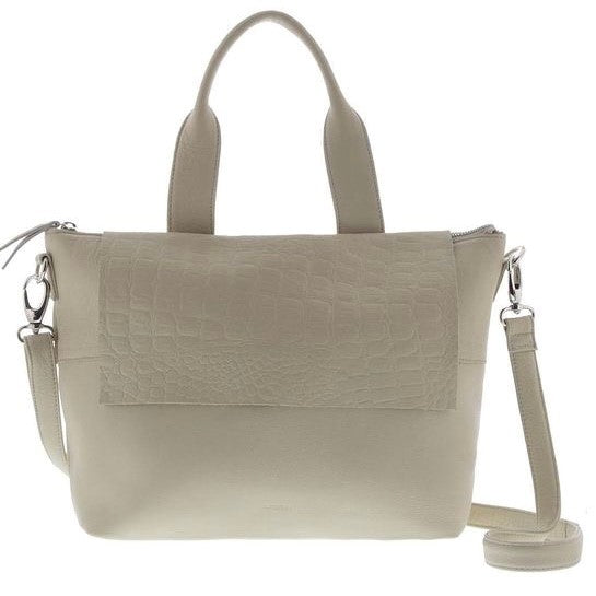 Supple leather handbag with shoulder strap. Can also be worn as a crossbody bag. Has a flap to conceal zip closure. Zip on outside back as well as inside. Colour beige with beige croc flap.