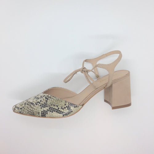 Nubuck snakeskin heel with nude leather ankle tie