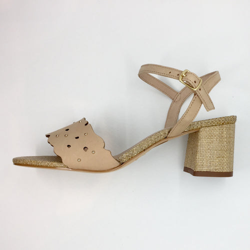 nubuck weave with gold studs and leather cut-out heeled sandals