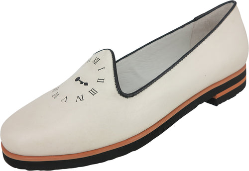 Leather loafers with clock print on toe, black and orange trim for added detail.