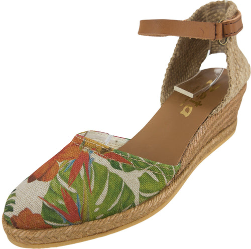 Beige and tropical pattern across canvas upper with rope wedge espadrille