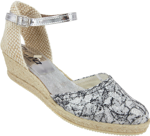 Espadrilles with a splash of silver, rope wedge and leather ankle strap.
