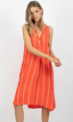 Tangerine dress with white juniper stripe, deep v-neck and stepped and scooped hem