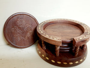 Wooden Beautiful Tea Coaster Flower Set of 6 Plate with Stand Dining Table Serving