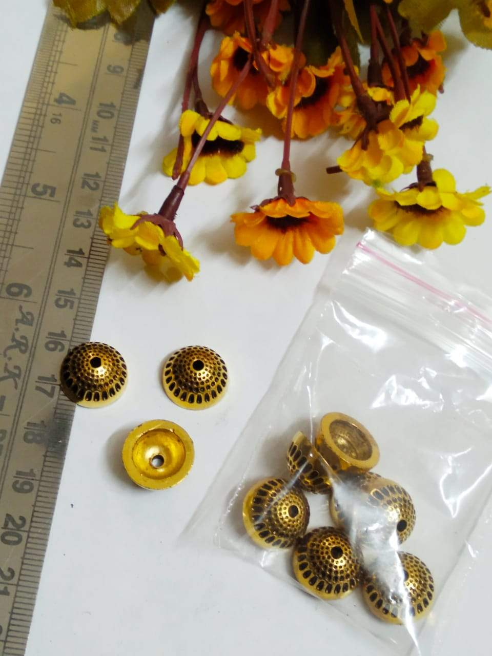 Antique Gold Silver Beads Ccb 36
