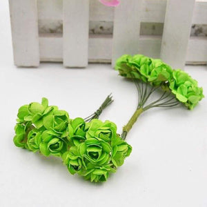 Artificial Paper Rose Flower For Tiara Making Decoration Party Diy Materials 12 X Bunch=144 Pcs