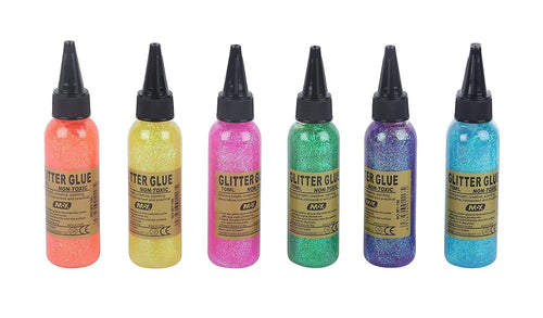 Stylish Glitter Glue Tubes For Arts And Craft Work | Multi-Color Art With - Pack Of 6 Tube Fabric &
