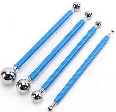 4 Pcs Set Ball Tools Clay Modeling Stylus Dotting Sculpting Ceramics Stainless Steel Sugar Paste