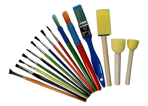 Non-Toxic Washable Set Of 15 Different Sizes Paint Brushes And Art Tools For Painting Drawing