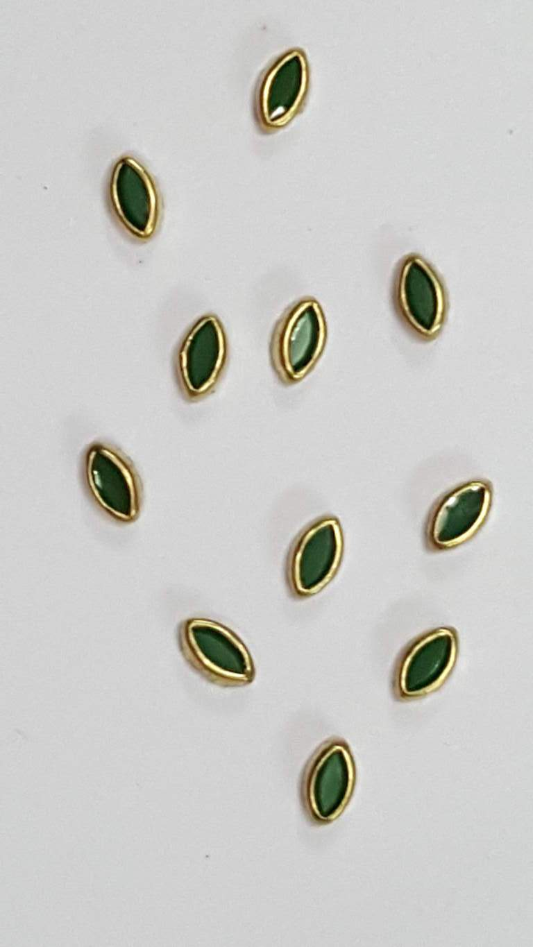 Coloured Pearl Kundan Stone (Flat Back Framed) 6 mm EYE SHAPE DARK GREEN COLOUR
