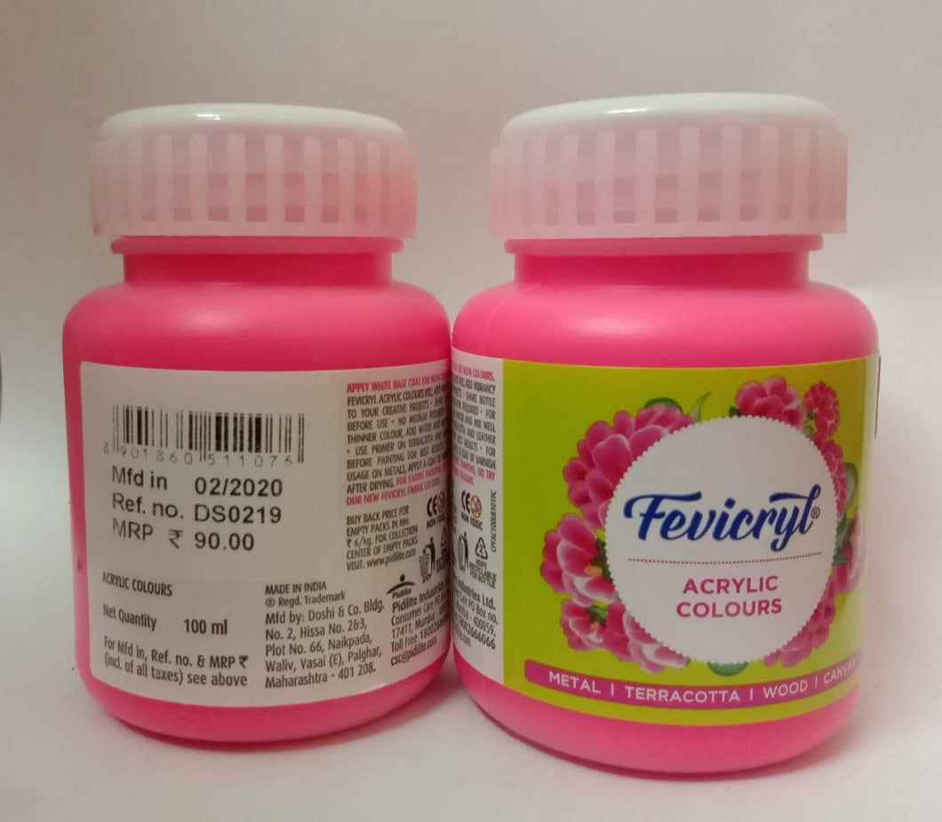 Fevicryl Acrylic Colors - Neon Pink 100Ml Fabric Glue & Adhesives