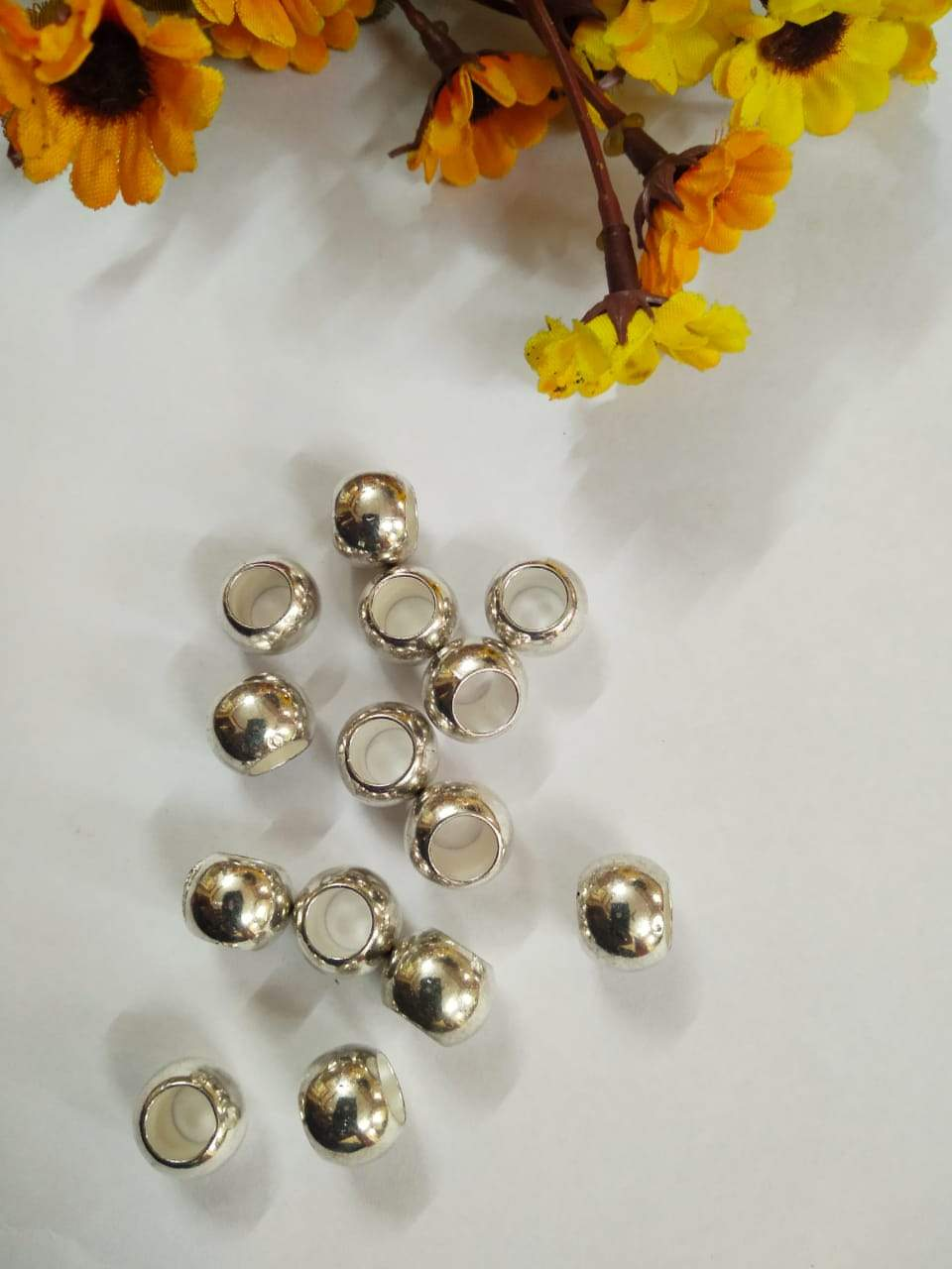 10 Mm Metal Balls (Big Hole) Silver