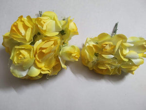 Artificial Paper Rose Flower Decoration Party Diy Materials 5 Paper Flower-1 Bunch(Yellow) Necklace