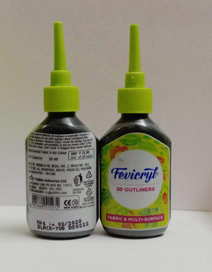 Fevicryl 3D Outliners -Black Fabric Glue & Adhesives