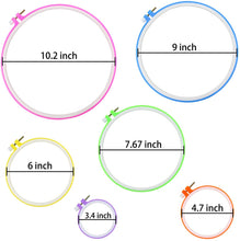 Load image into Gallery viewer, Eshwar Shop 5 Pieces Embroidery Hoops Plastic Circle Cross Stitch Hoop Ring 3.4 Inch To 10.2