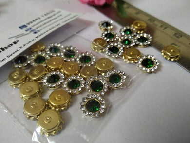 Coloured Stone Kundan/stone Batch- Green & White (10Mm) Kundan Stones